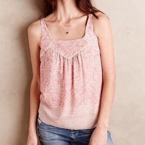 Anthropologie Maeve Mazie Pink Tank Back Cutout